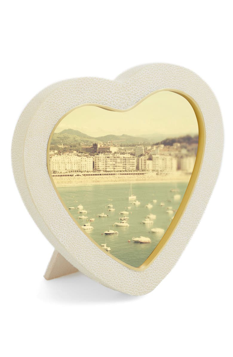 AERIN Shagreen Heart Picture Frame, Main, color, WHITE