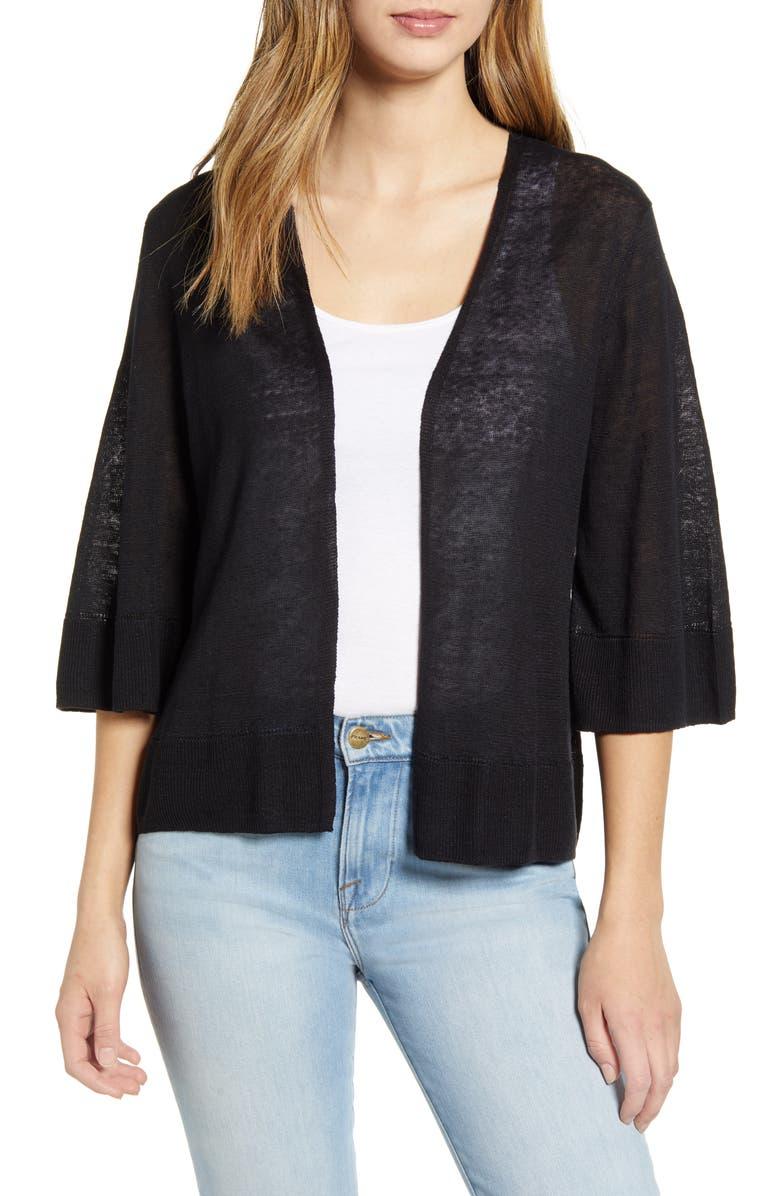 TOMMY BAHAMA Lea Linen Cardigan, Main, color, BLACK