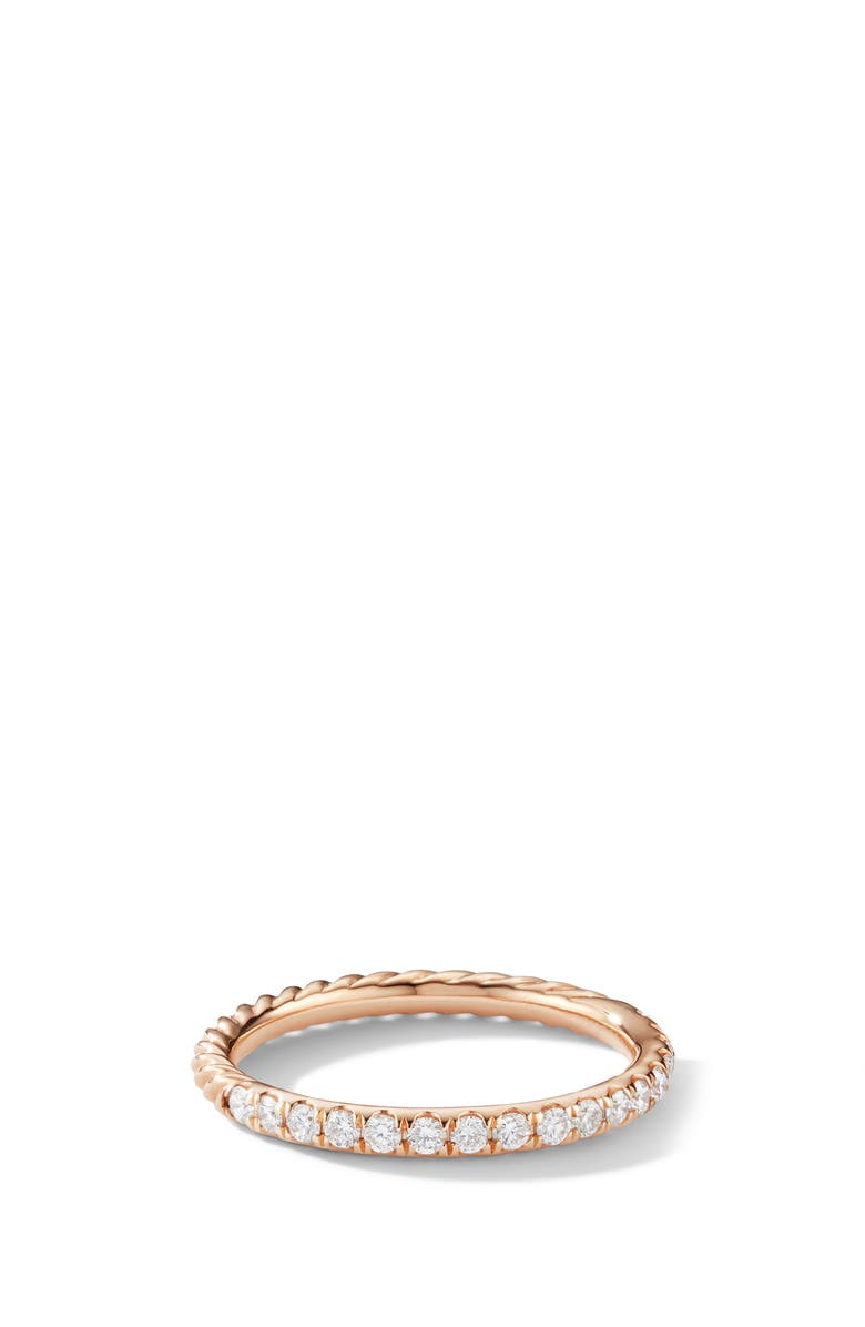 DAVID YURMAN Cable Pavé Band Ring with Diamonds, Main, color, ROSE GOLD/ DIAMOND