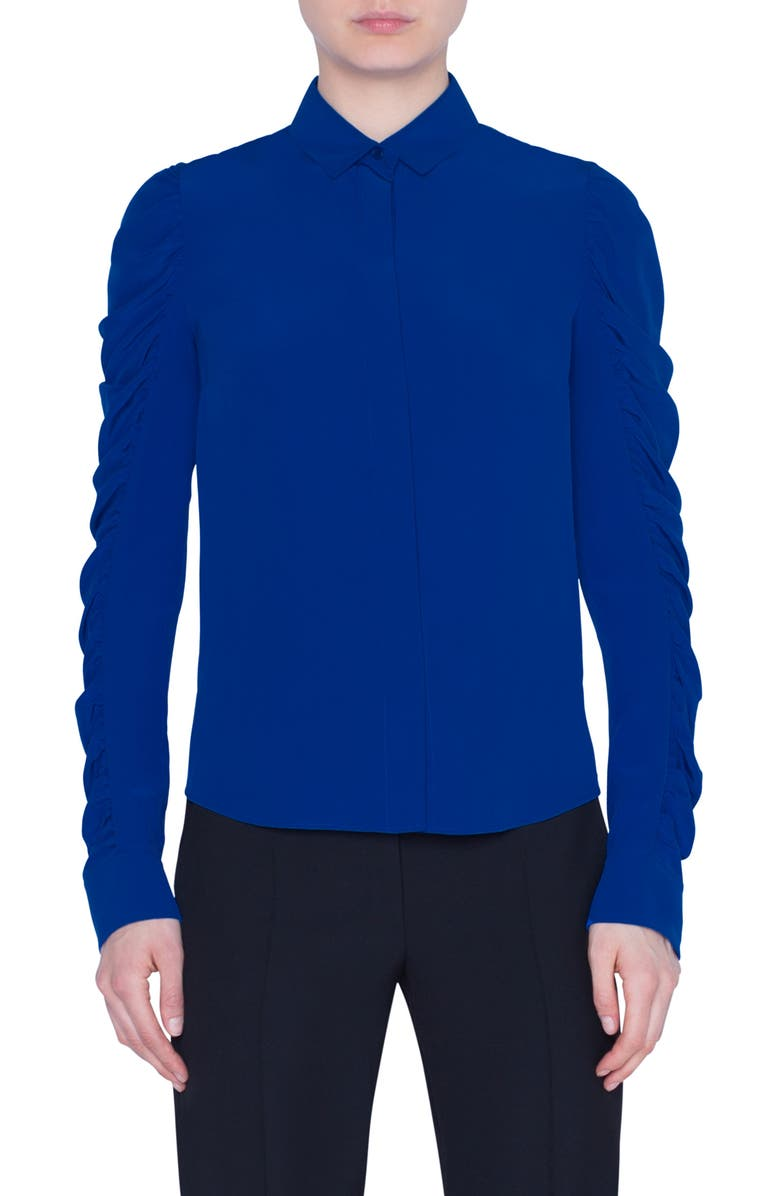 AKRIS PUNTO Ruched Sleeve Silk Blouse, Main, color, ELECTRIC BLUE