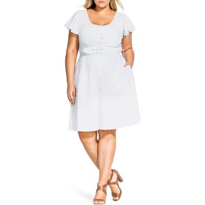 Plus Size City Chic Flutter Sleeve Belted Cotton Blend Dress, White