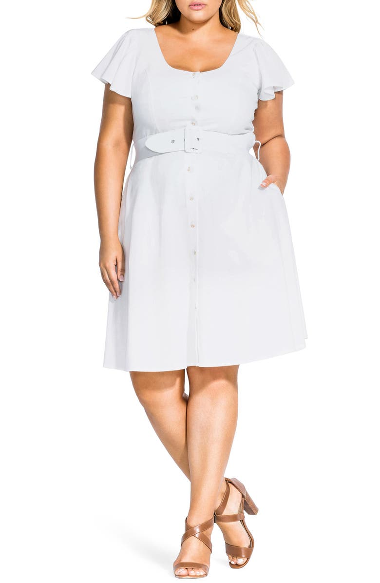 CITY CHIC Flutter Sleeve Belted Cotton Blend Dress, Main, color, IVORY