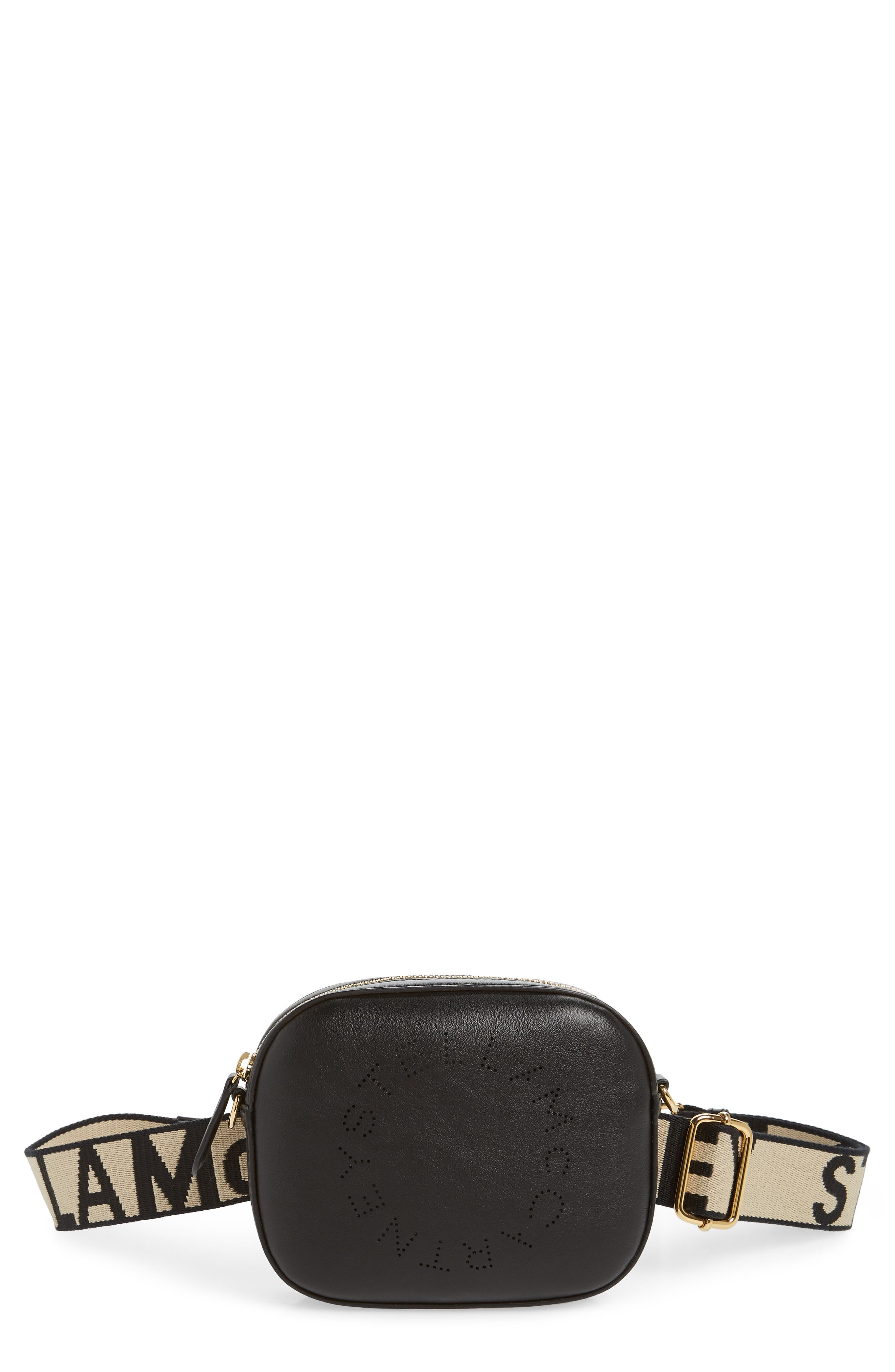Stella Mccartney Perforated Logo Convertible Faux Leather Belt Bag - Black