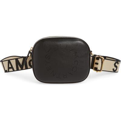 Stella Mccartney Perforated Logo Convertible Faux Leather Belt Bag - Black