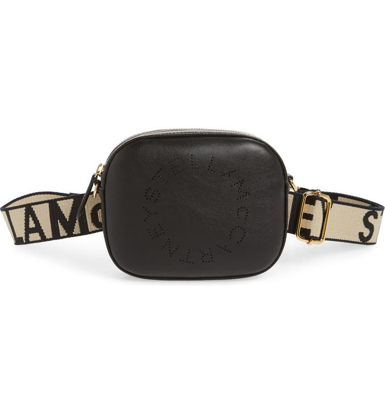STELLA MCCARTNEY Perforated Logo Convertible Faux Leather Belt Bag, Main, color, BLACK
