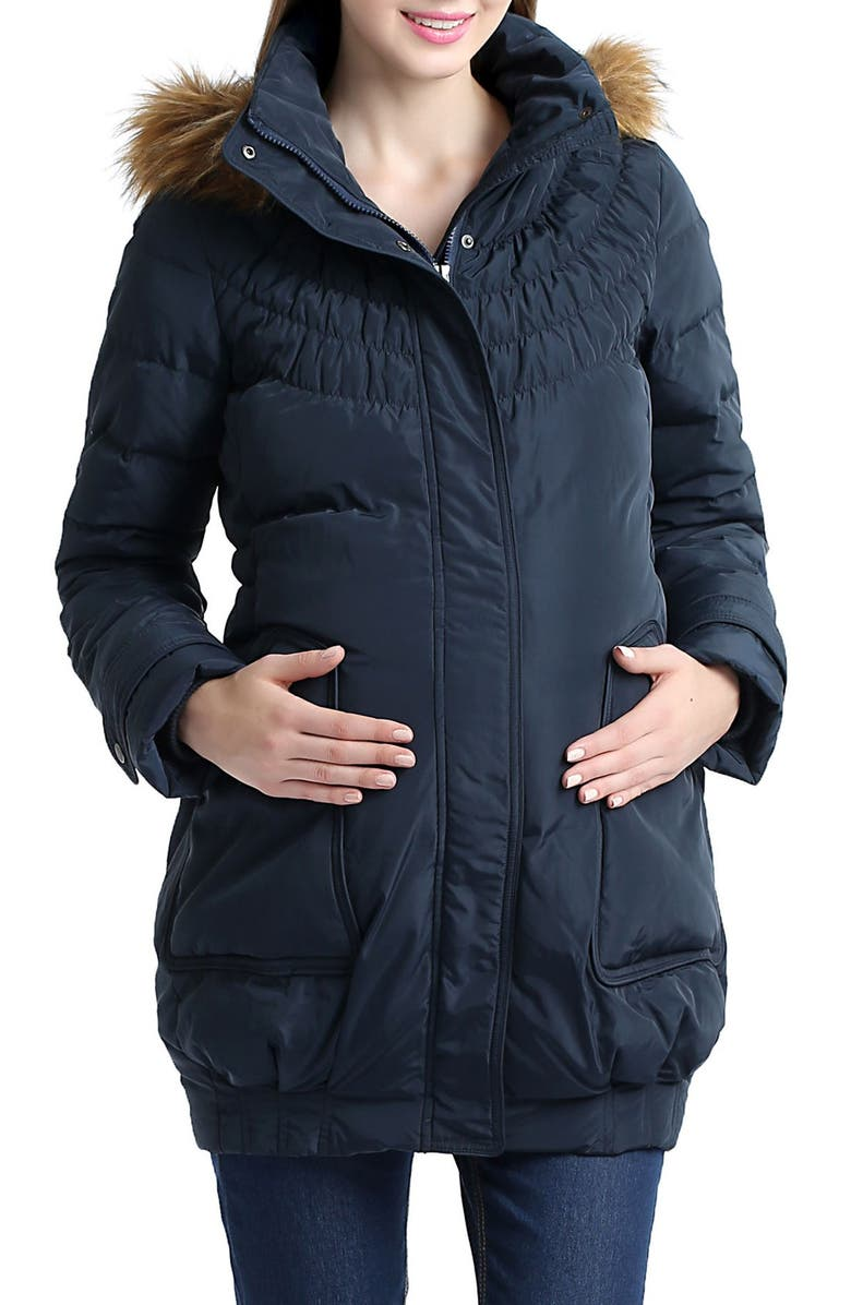 KIMI AND KAI Arlo Water Resistant Down Maternity Parka with Baby Carrier Cover Inset, Main, color, NAVY