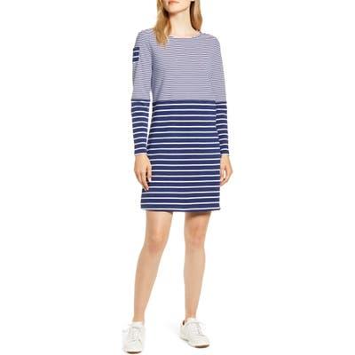 Vineyard Vines Mix Stripe Long Sleeve Cotton Shift Dress, Blue