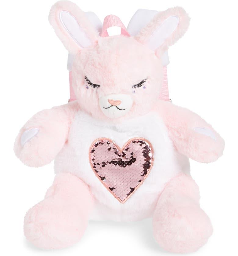 UNDER ONE SKY Plush Bunny Backpack, Main, color, PINK