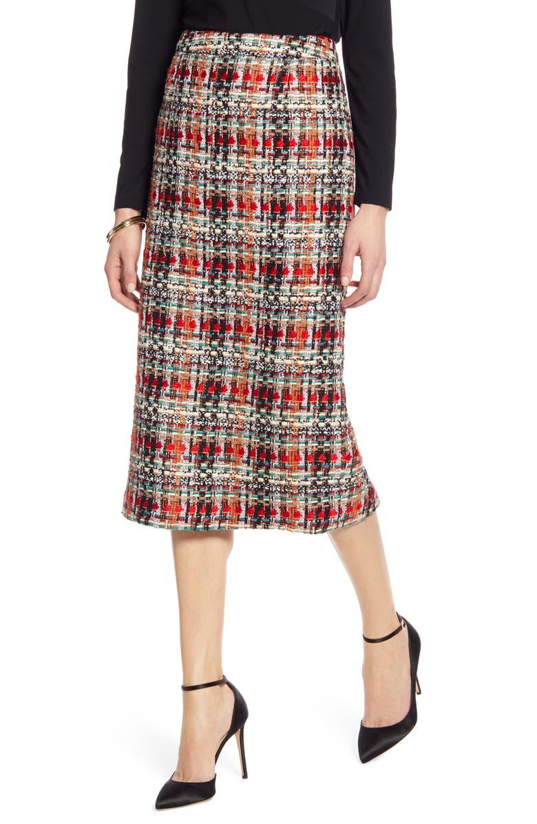 HALOGEN<SUP>®</SUP> Tweed Pencil Skirt, Main, color, BLACK- RED TWEED