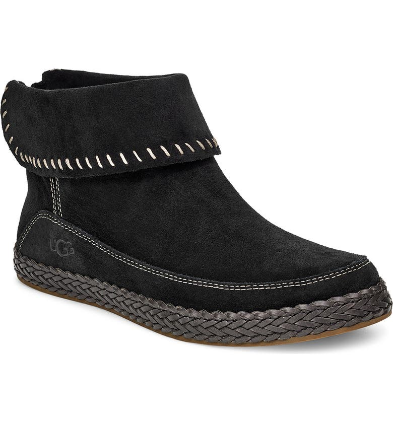 UGG<SUP>®</SUP> Varney Bootie, Main, color, BLACK SUEDE
