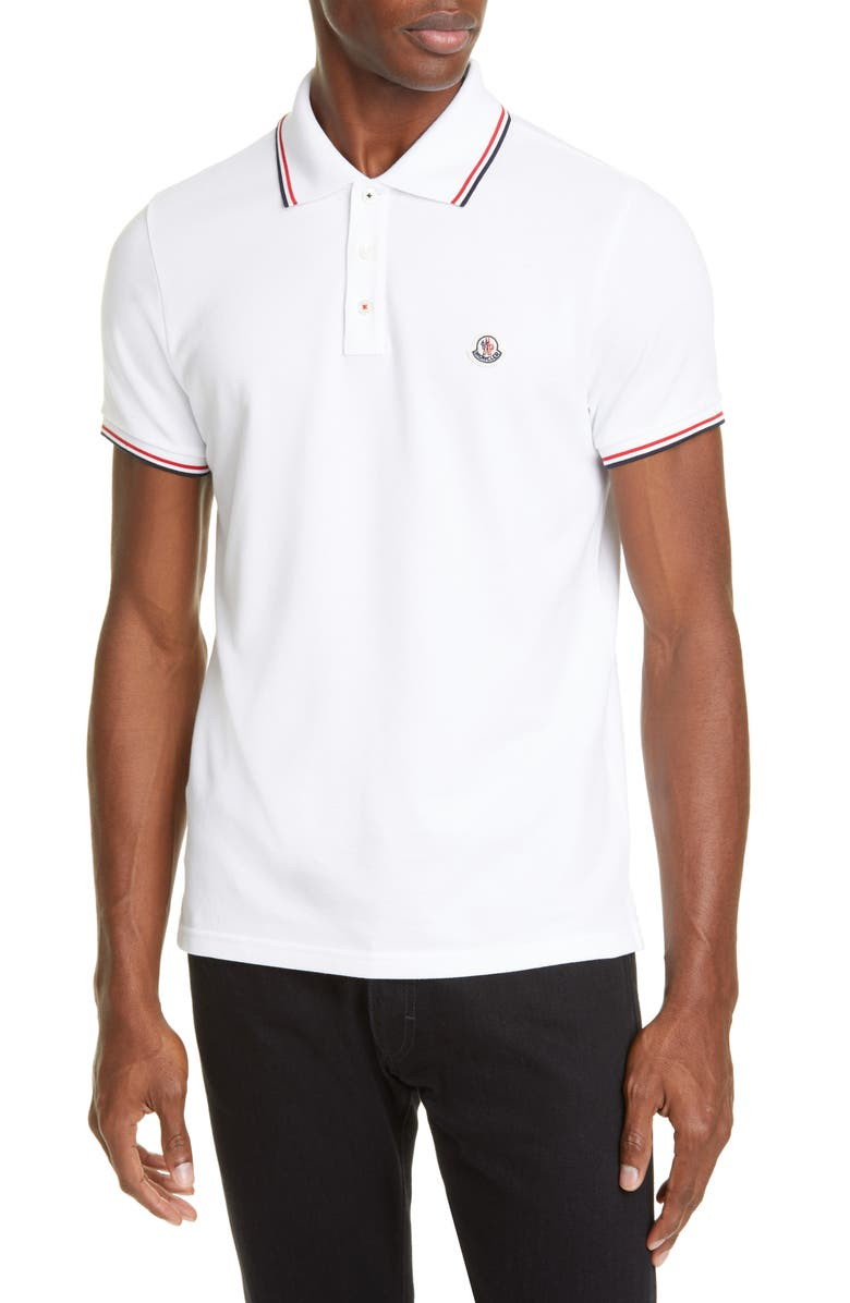MONCLER Tipped Solid Short Sleeve Piqué Polo, Main, color, WHITE