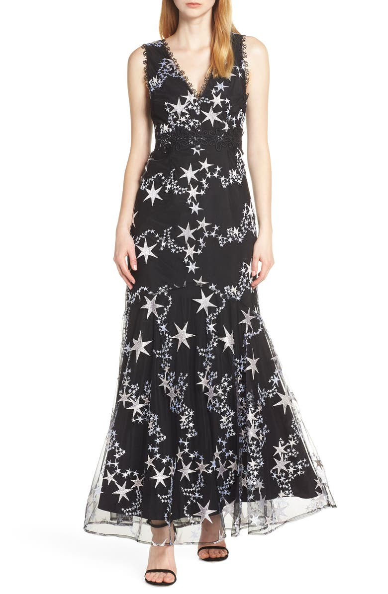FOXIEDOX Astra Embroidered Evening Gown, Main, color, BLACK MULTI