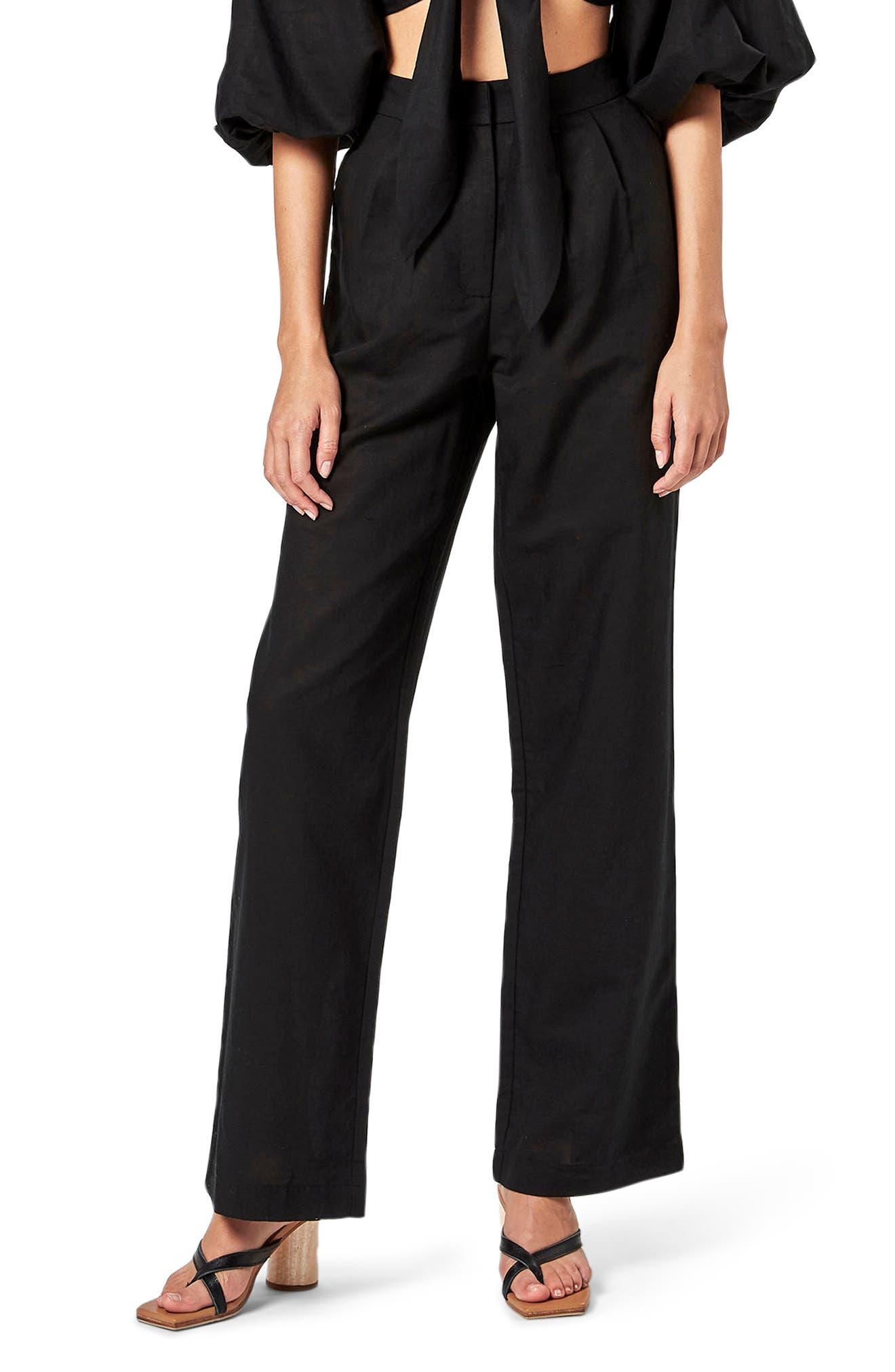 Wide Leg Cotton & Linen Pants