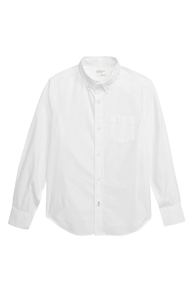 CREWCUTS BY J.CREW Secret Wash Poplin Shirt, Main, color, 102