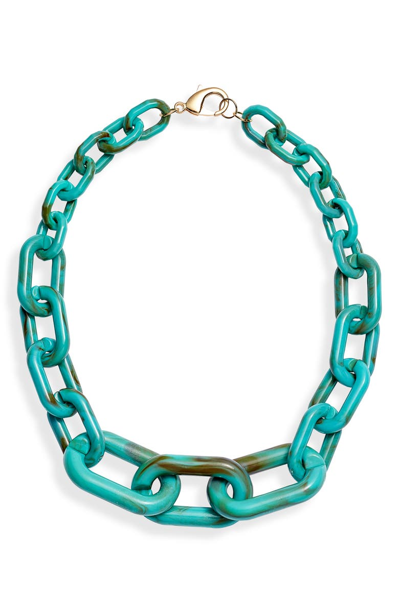 KNOTTY Chain Necklace, Main, color, TURQUOISE
