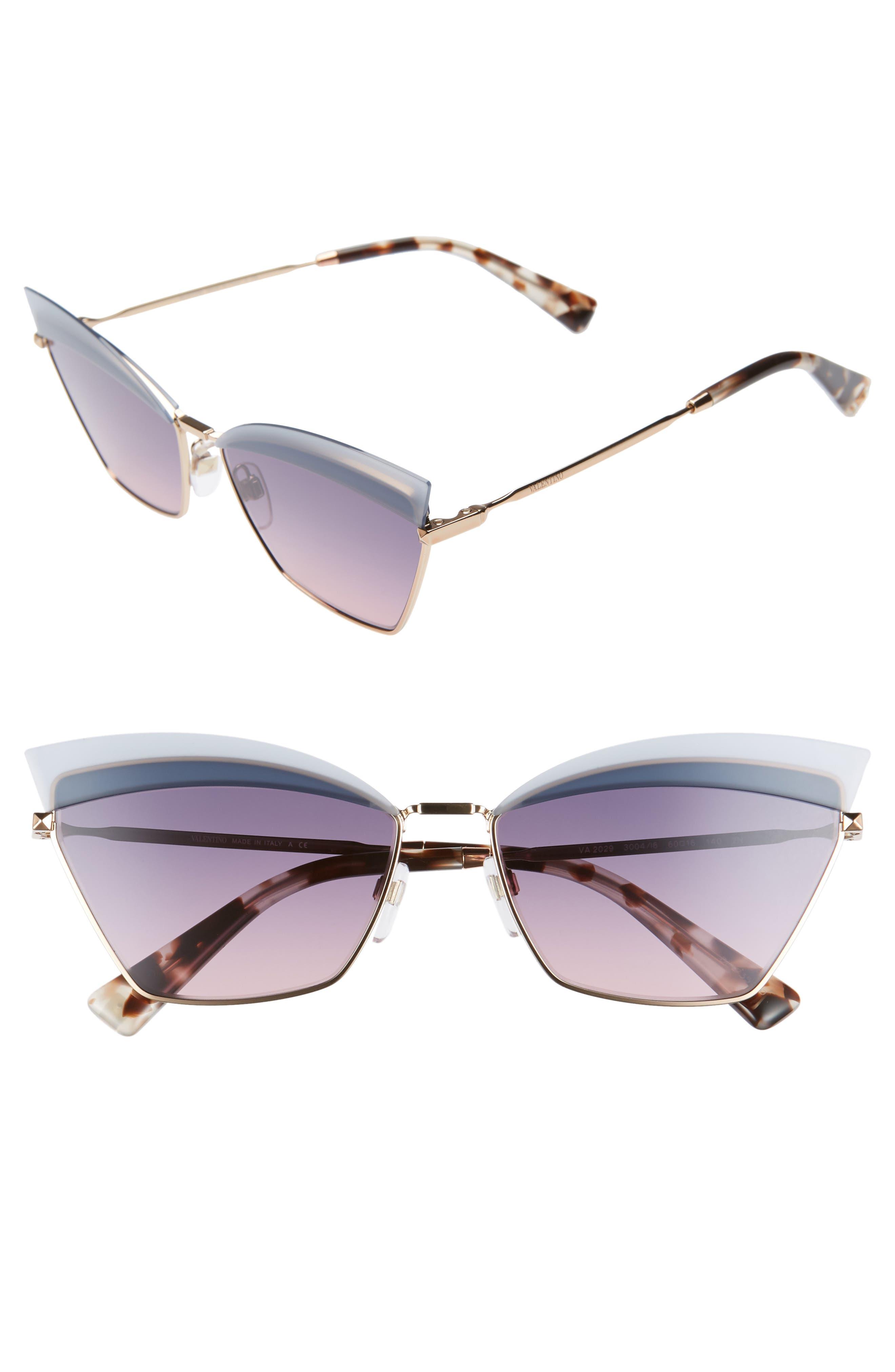 Valentino 60Mm Cat Eye Sunglasses - Rose Gold/ Blue