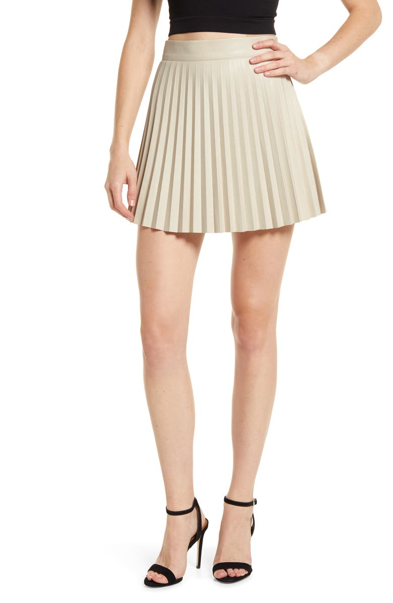 LULUS Better Luck Next Time Pleated Faux Leather Miniskirt, Main, color, BEIGE
