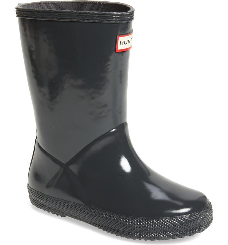 HUNTER 'First Gloss' Rain Boot, Main, color, DARK SLATE