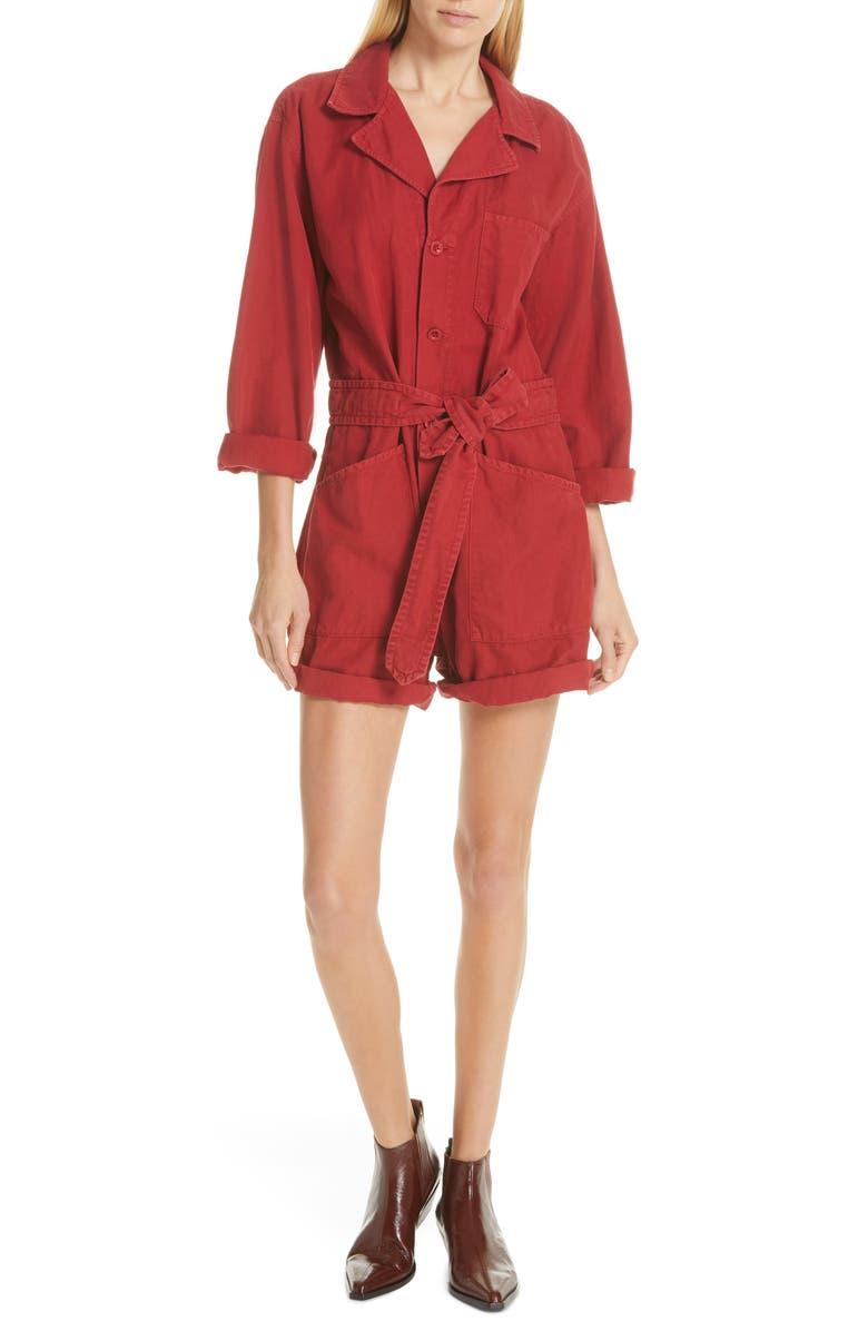 NILI LOTAN Ariana Cotton & Linen Romper, Main, color, SUNKISSED RED