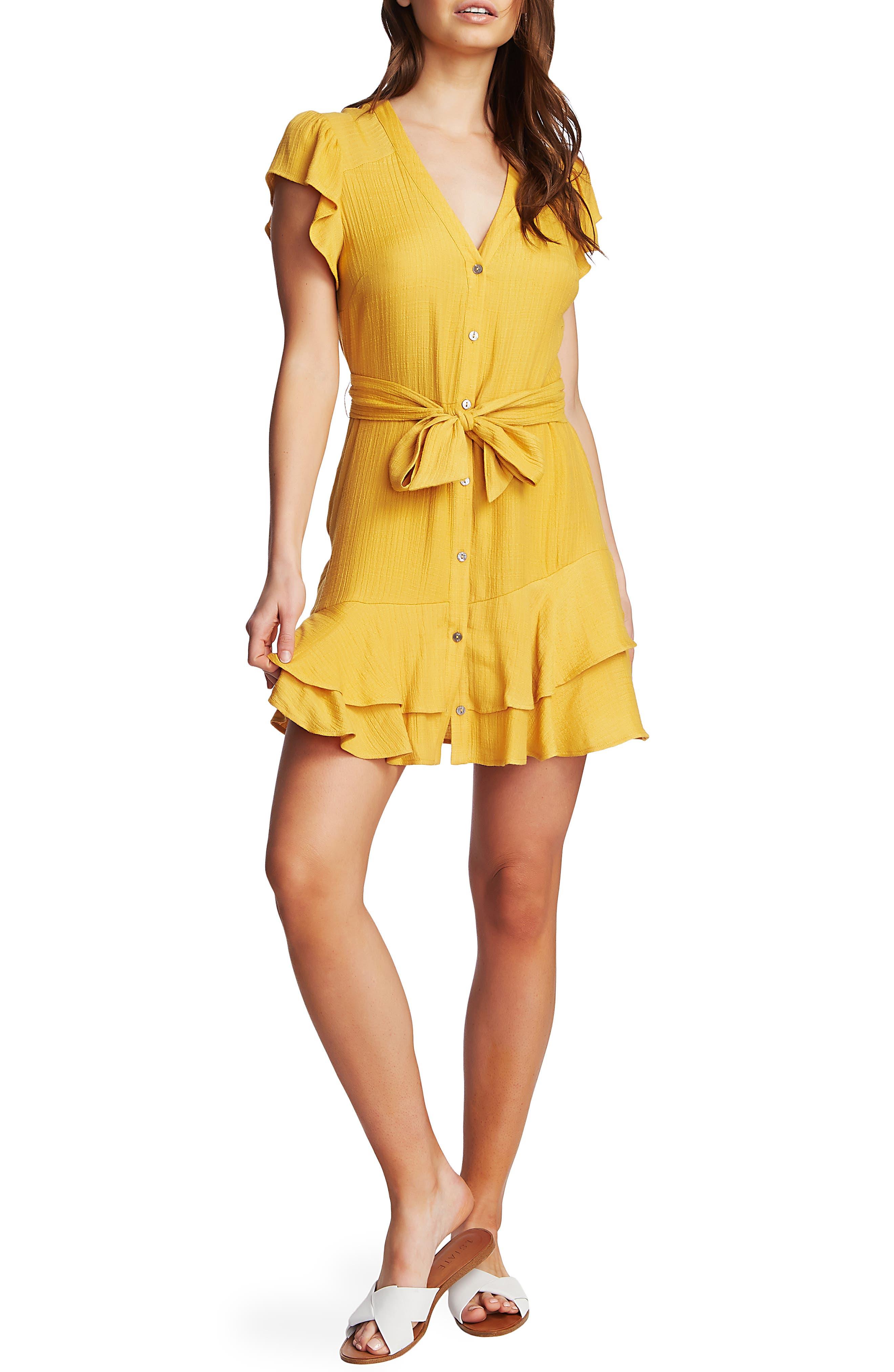 1.state Asymmetrical Ruffle Fit & Flare Dress, Yellow