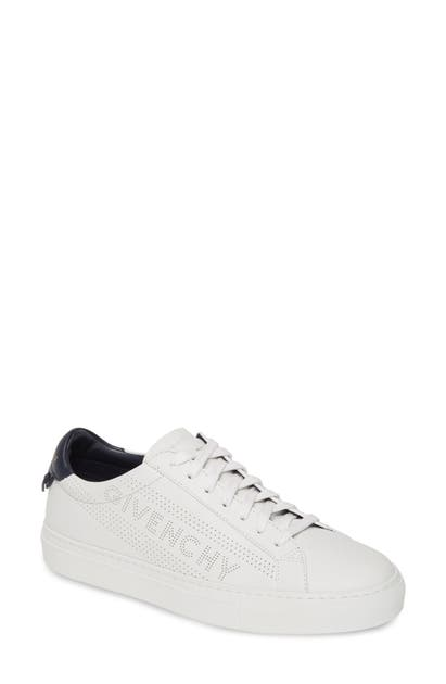 Givenchy Urban Street Perforated Logo Sneaker In White/ Navy