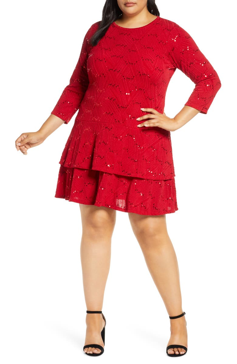 MICHAEL MICHAEL KORS Sequin Jacquard Tiered Dress, Main, color, RED CURRANT