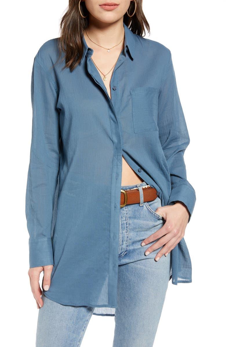 TREASURE & BOND Gauzy Tunic Shirt, Main, color, BLUE CHINOISE