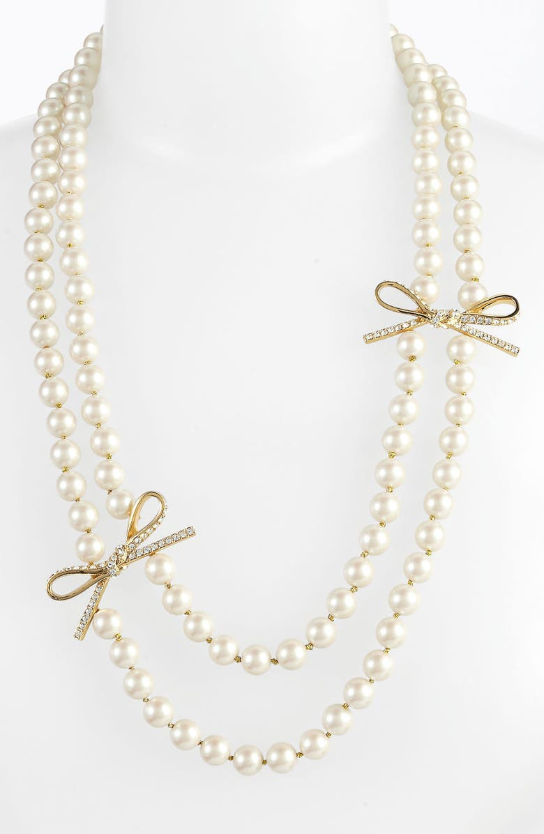 KATE SPADE NEW YORK 'skinny mini' faux pearl necklace, Main, color, 900