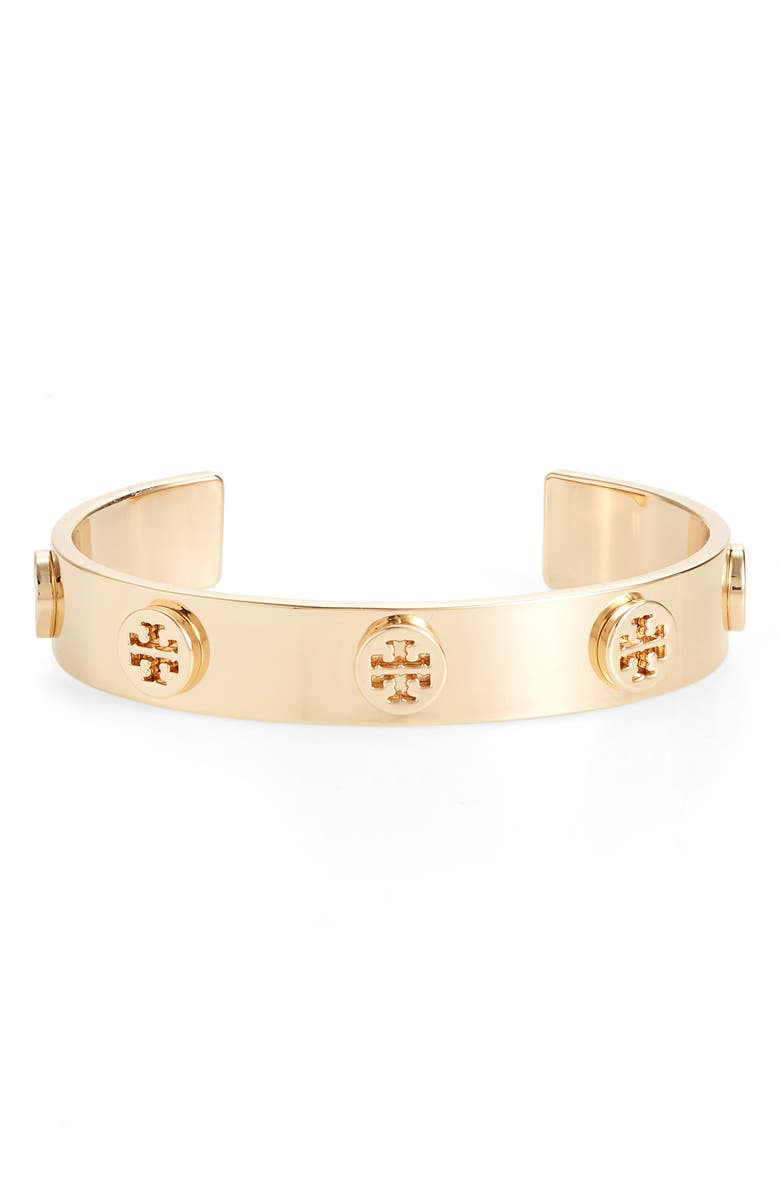 TORY BURCH Logo Studded Cuff, Main, color, TORY GOLD
