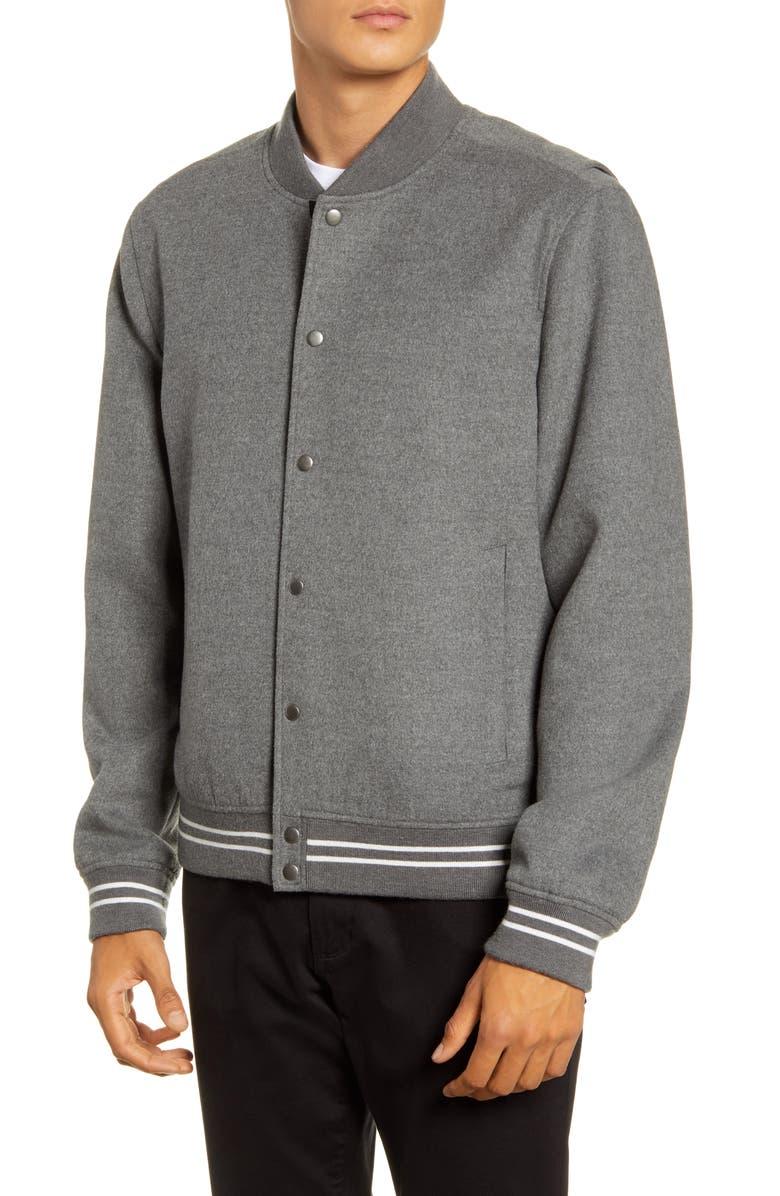 VINCE Varsity Jacket, Main, color, H SILVER GREY