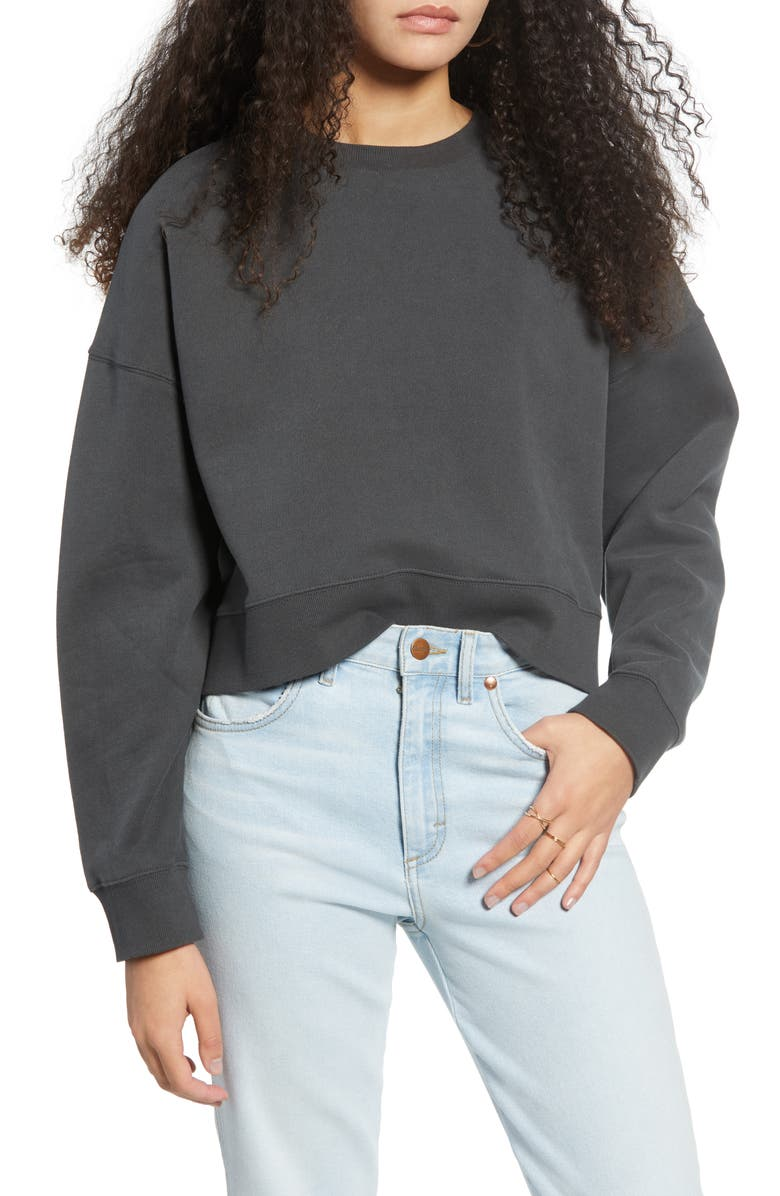 BDG URBAN OUTFITTERS Slouchy Cotton Sweatshirt, Main, color, DARK SHADOW