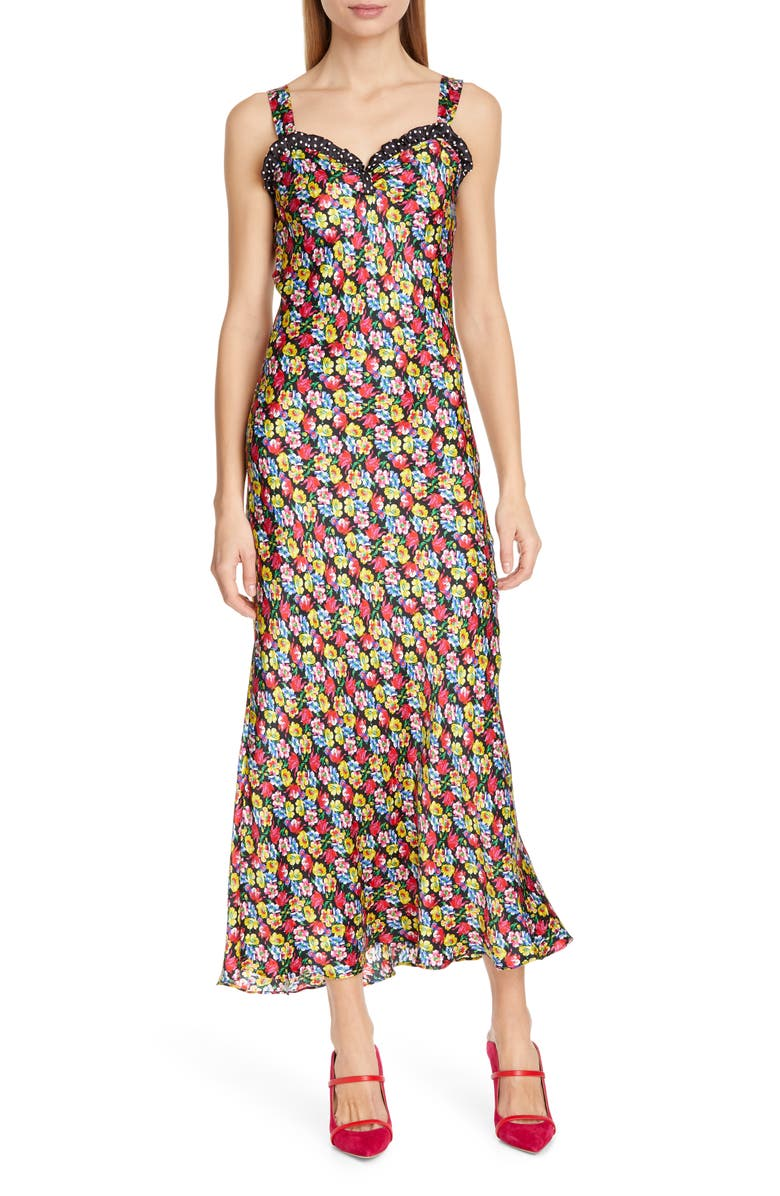RIXO Juliet Floral & Polka Dot Print Dress, Main, color, POP FLORAL POLKA DOT