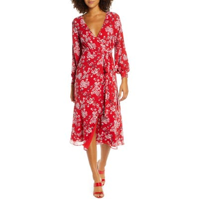Fame And Partners The Evelyn Long Sleeve Wrap Dress, Red