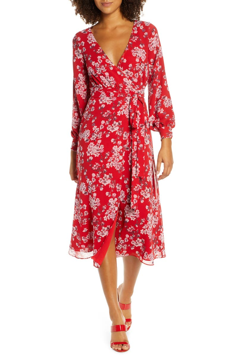 FAME AND PARTNERS The Evelyn Long Sleeve Wrap Dress, Main, color, AZALEA FLORAL RED