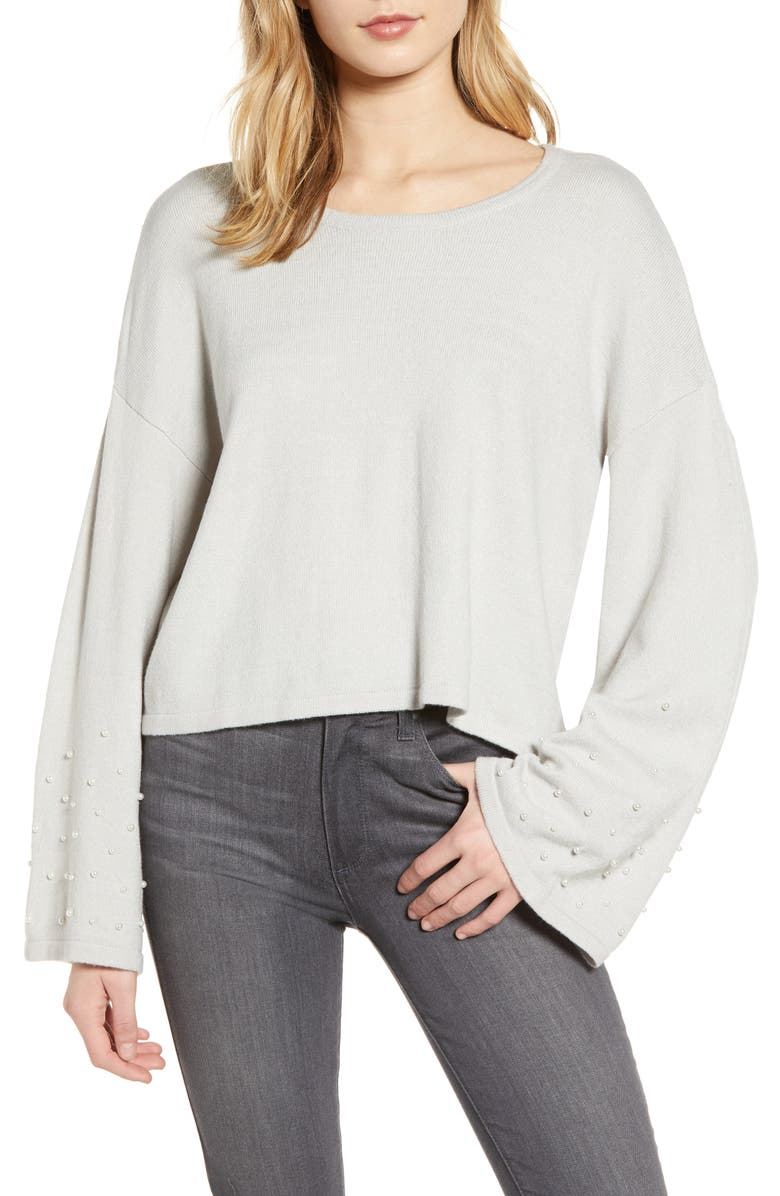 CUPCAKES AND CASHMERE Imitation Pearl Embellished Bell Sleeve Crop Sweater, Main, color, 900