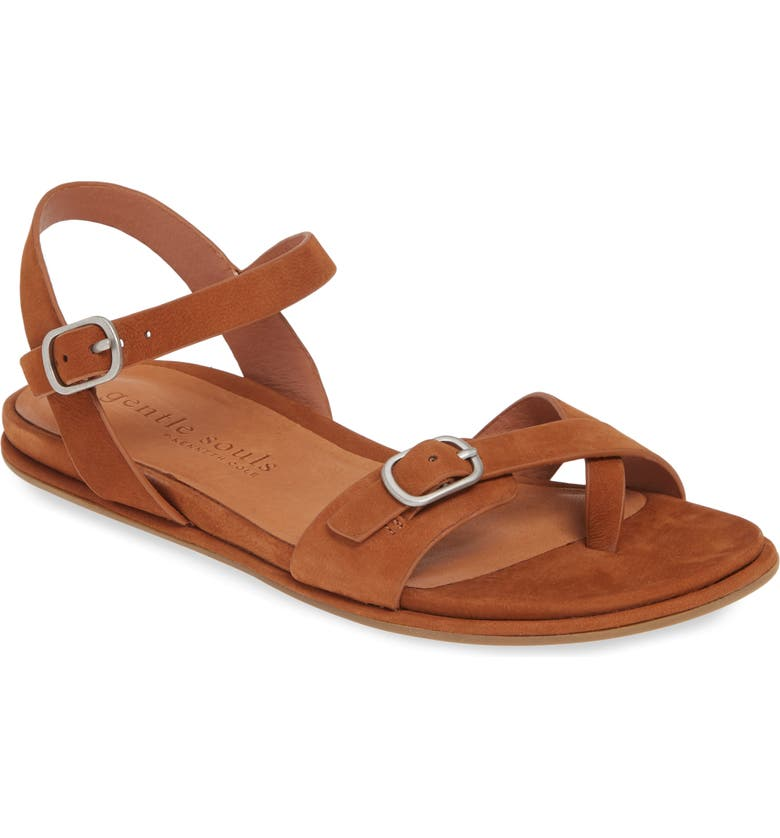 GENTLE SOULS BY KENNETH COLE Lark Strappy Flat Sandal, Main, color, COGNAC NUBUCK LEATHER