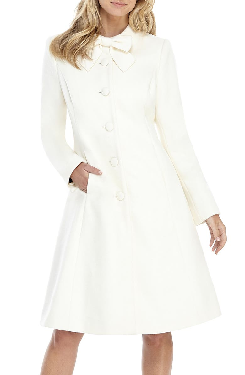 GAL MEETS GLAM COLLECTION Bow Necktie Wool Blend Coat, Main, color, WINTER WHITE