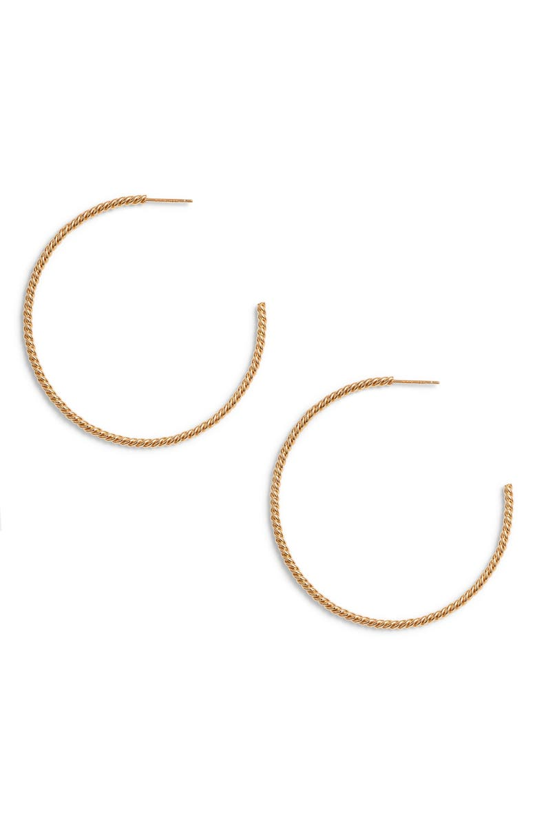 STERLING FOREVER Gold Rope Twist Hoop Earrings, Main, color, GOLD