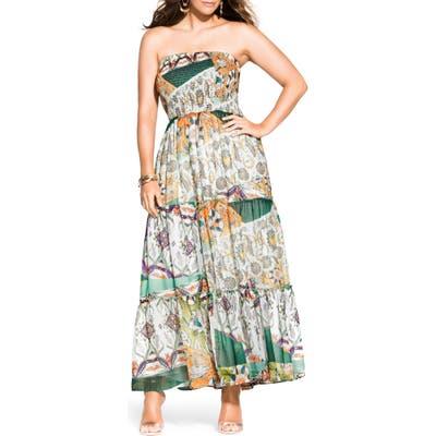 Plus Size City Chic Bilbao Strapless Maxi Dress, White