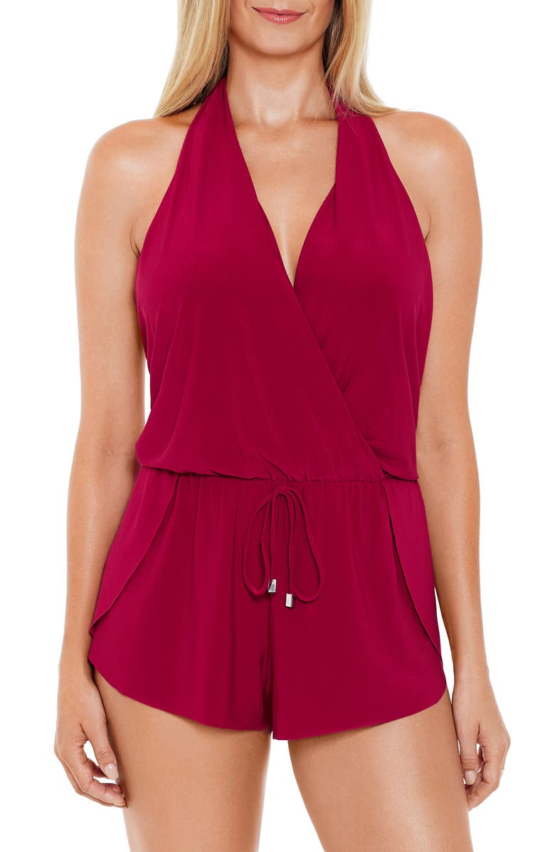MAGICSUIT<SUP>®</SUP> Bianca One-Piece Romper Swimsuit, Main, color, VAMP