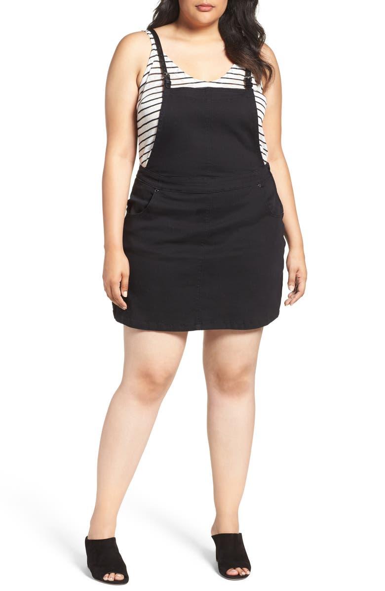 CITY CHIC Denim Pinafore Dress, Main, color, BLACK