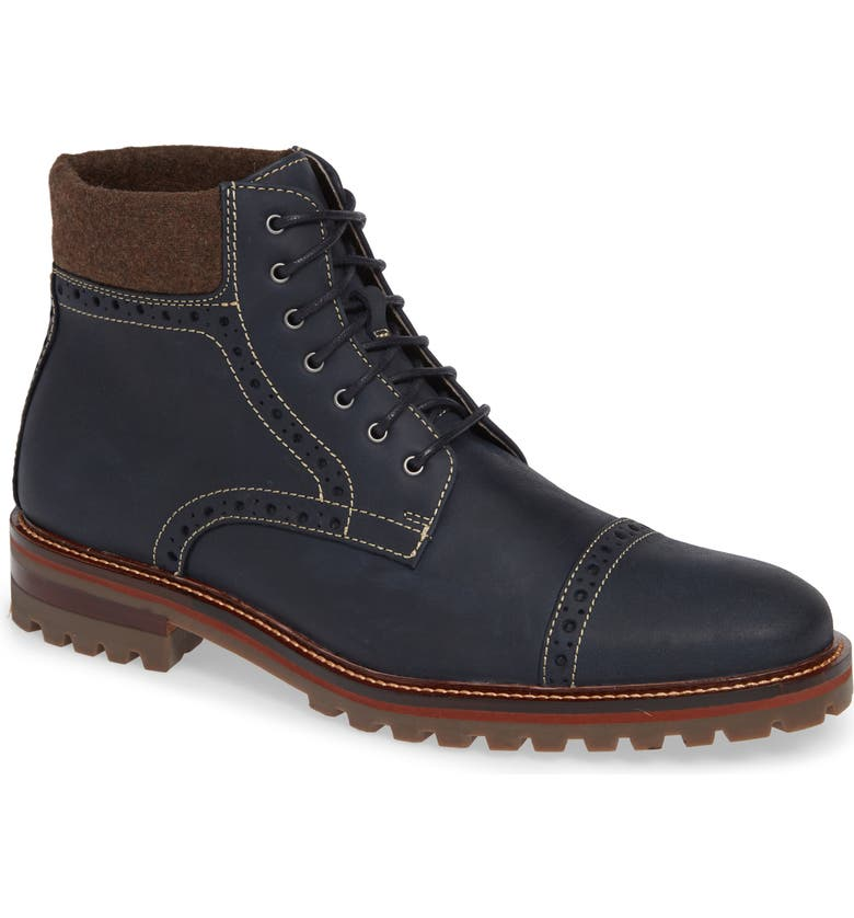 JOHNSTON & MURPHY J&M 1850 'Karnes' Brogue Cap Toe Boot, Main, color, NAVY LEATHER