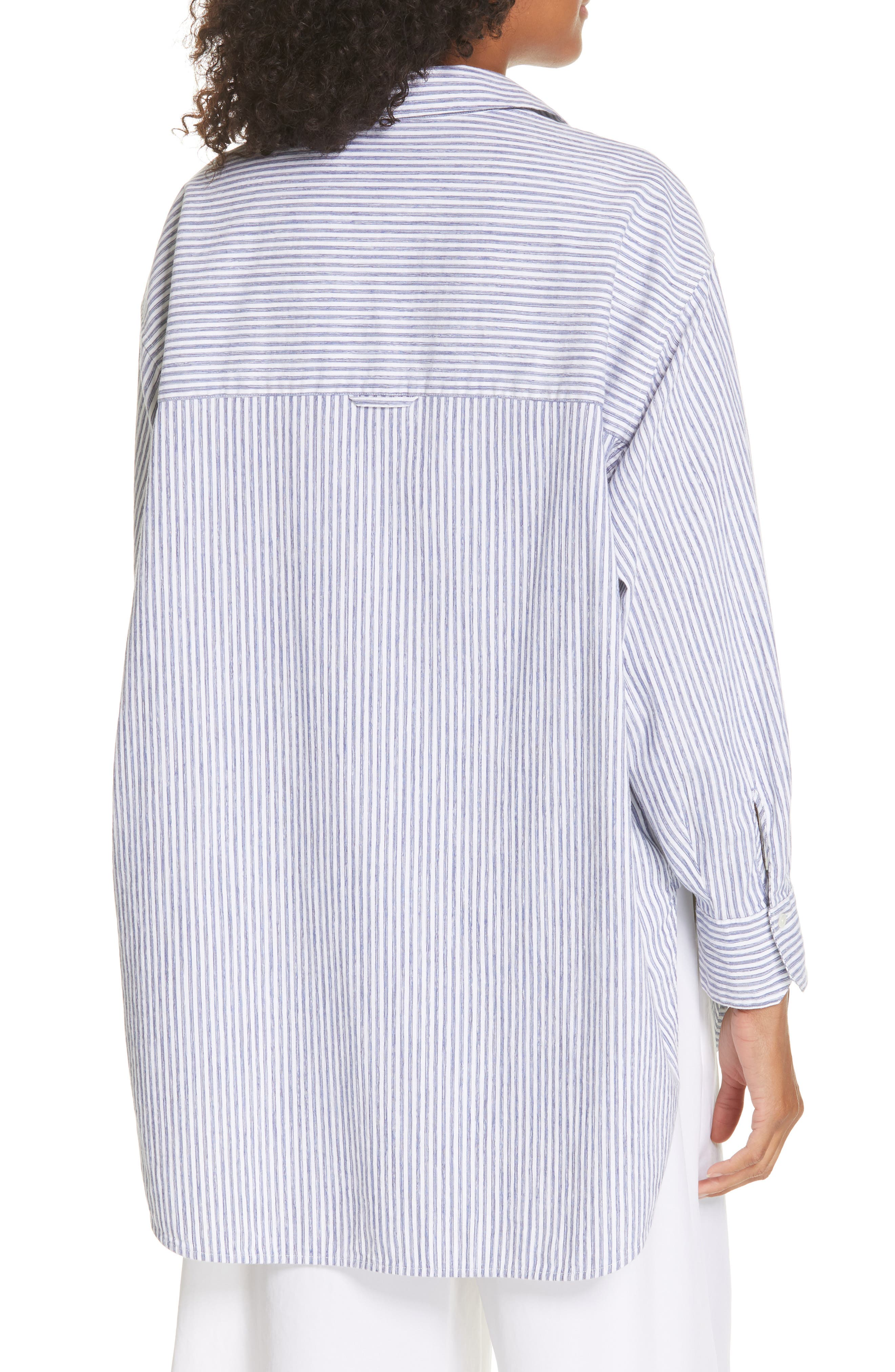 ,                             Stripe Oversize Cotton Blend Blouse,                             Alternate thumbnail 2, color,                             INDIGO