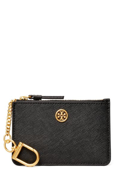 Tory Burch Robinson Leather Card Case With Key Chain Nordstrom