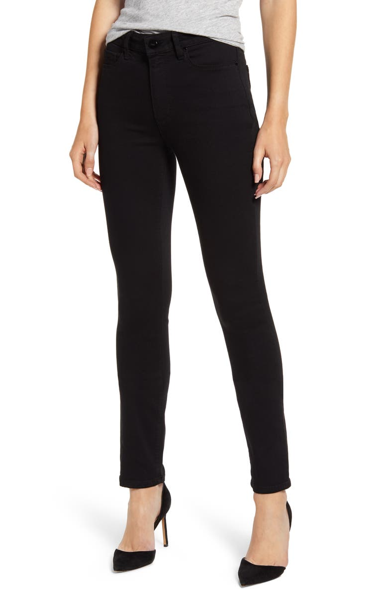 PAIGE Transcend - Hoxton High Waist Skinny Jeans, Main, color, BLACK SHADOW