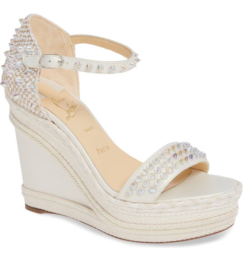 CHRISTIAN LOUBOUTIN Madmonica Spike Wedge Sandal, Main, color, SILVER