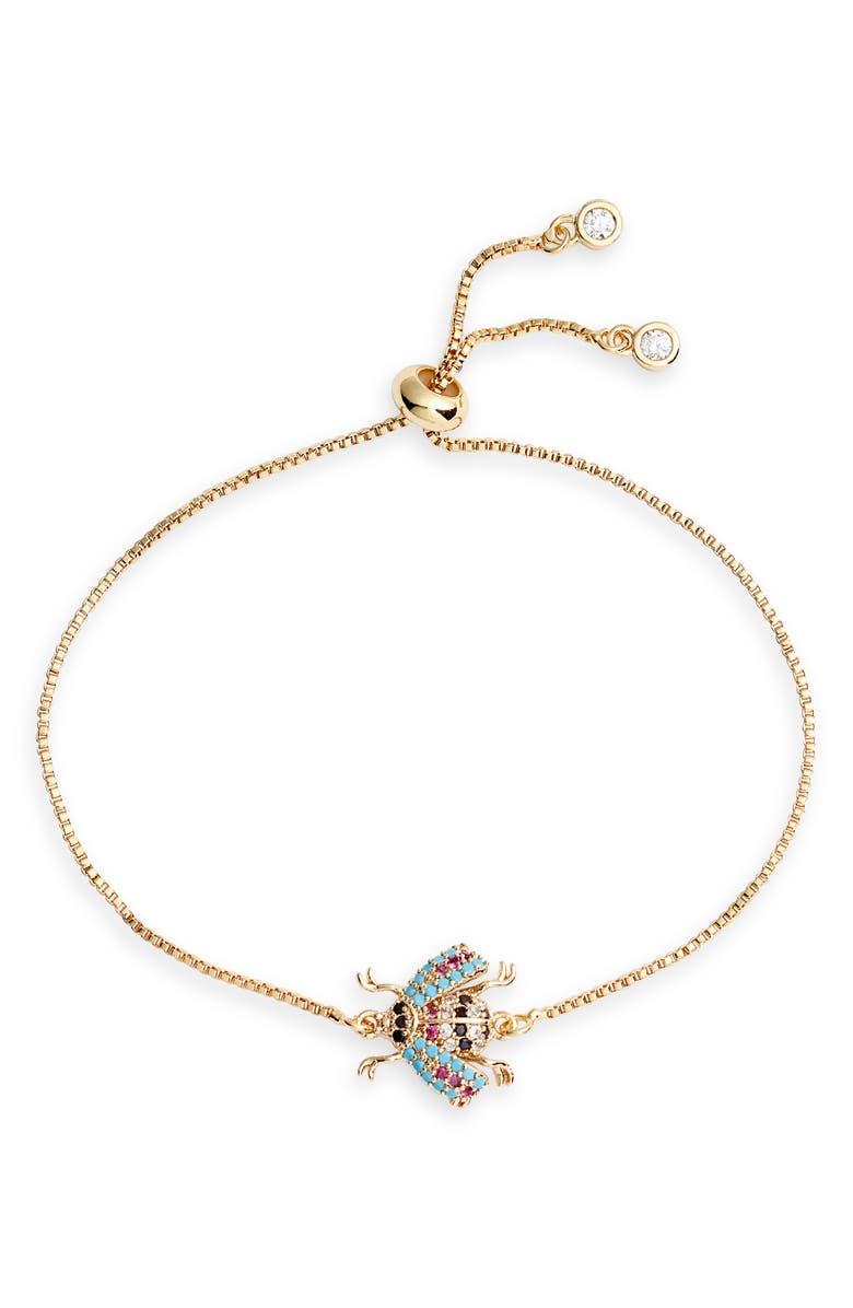 TEN79LA Beetle Pendant Bracelet, Main, color, GOLD