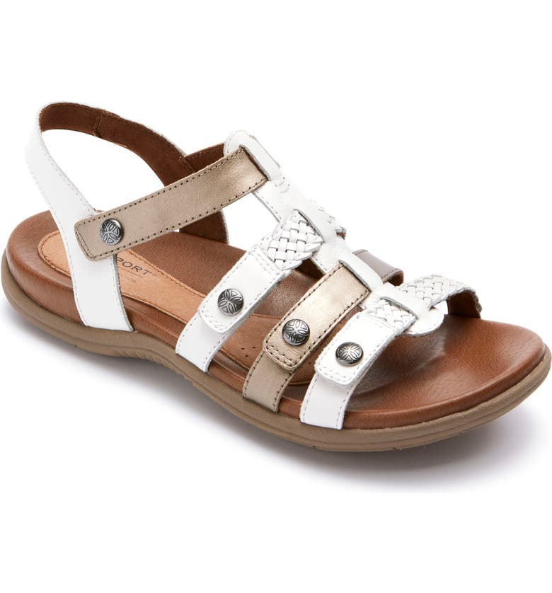 ROCKPORT COBB HILL Rubey T-Strap Sandal, Main, color, WHITE MULTI LEATHER