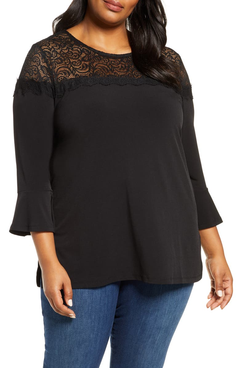 MICHAEL MICHAEL KORS Lace Yoke Top, Main, color, 001