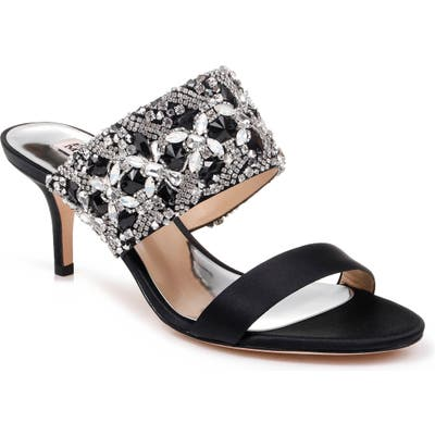 Badgley Mischka Linda Embellished Slide Sandal, Black